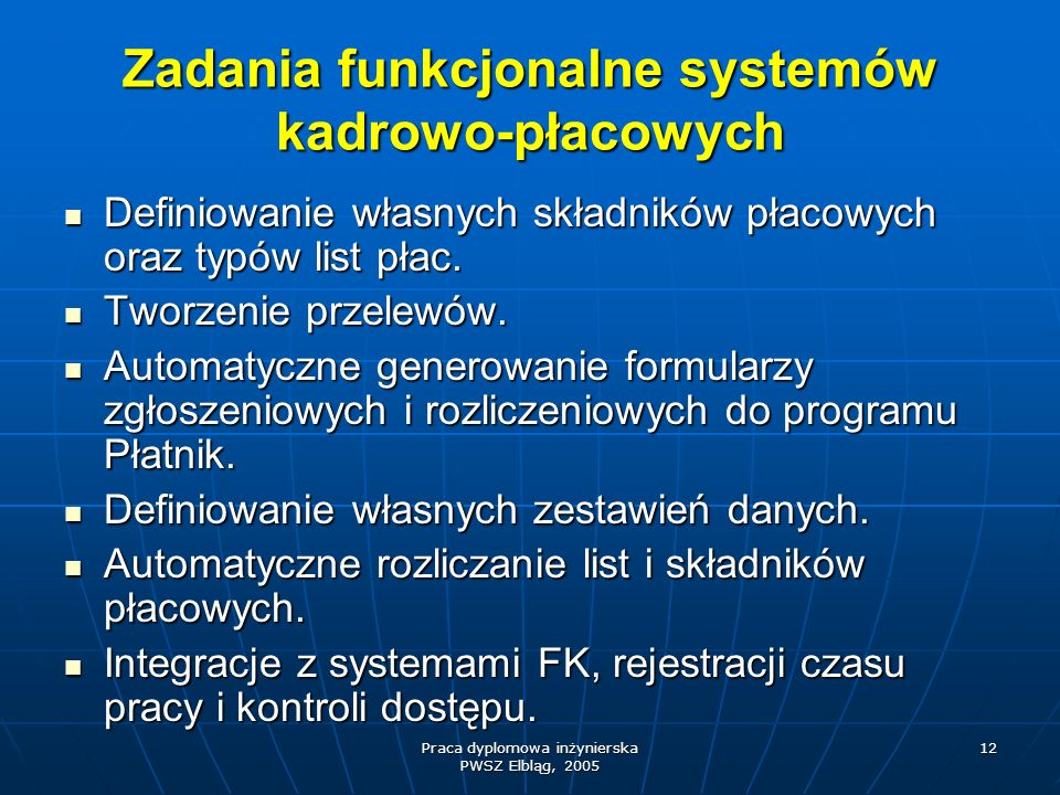Zadania funkcjonalne systemów kadrowo-płacowych