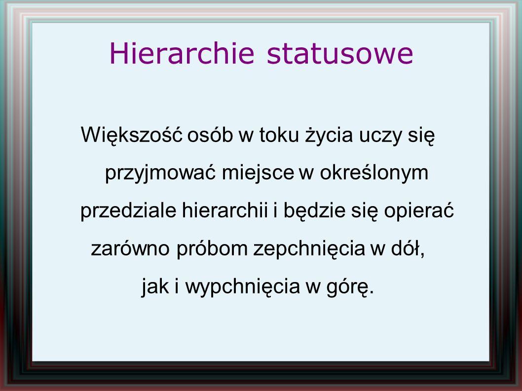 Hierarchie statusowe Większość osób w toku życia uczy się przyjmować miejsce w określonym przedziale hierarchii i będzie się opierać.
