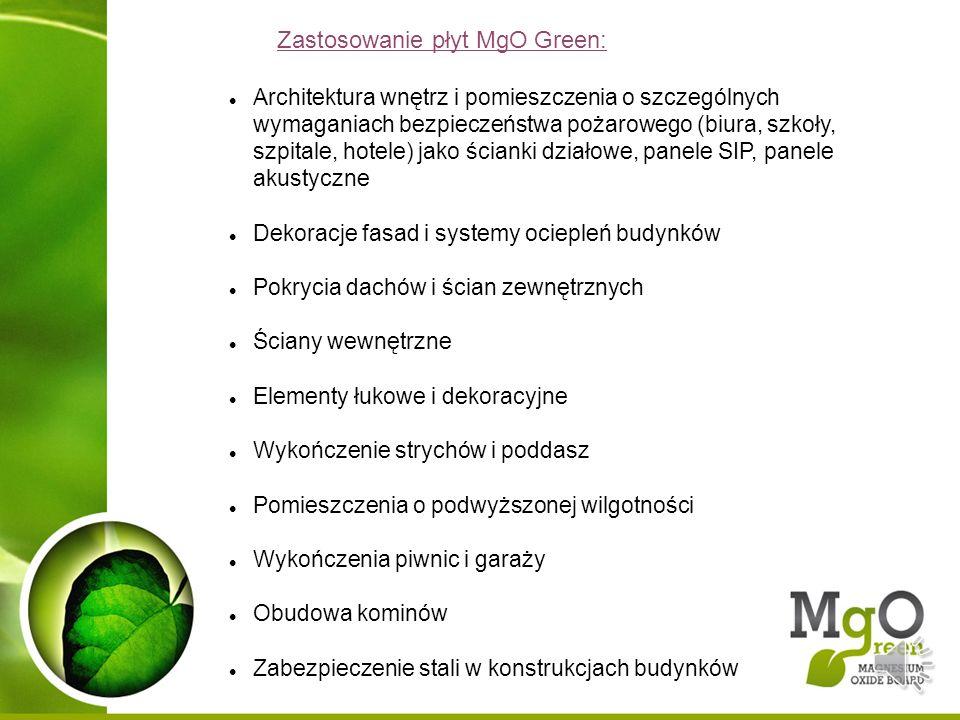 Zastosowanie płyt MgO Green: