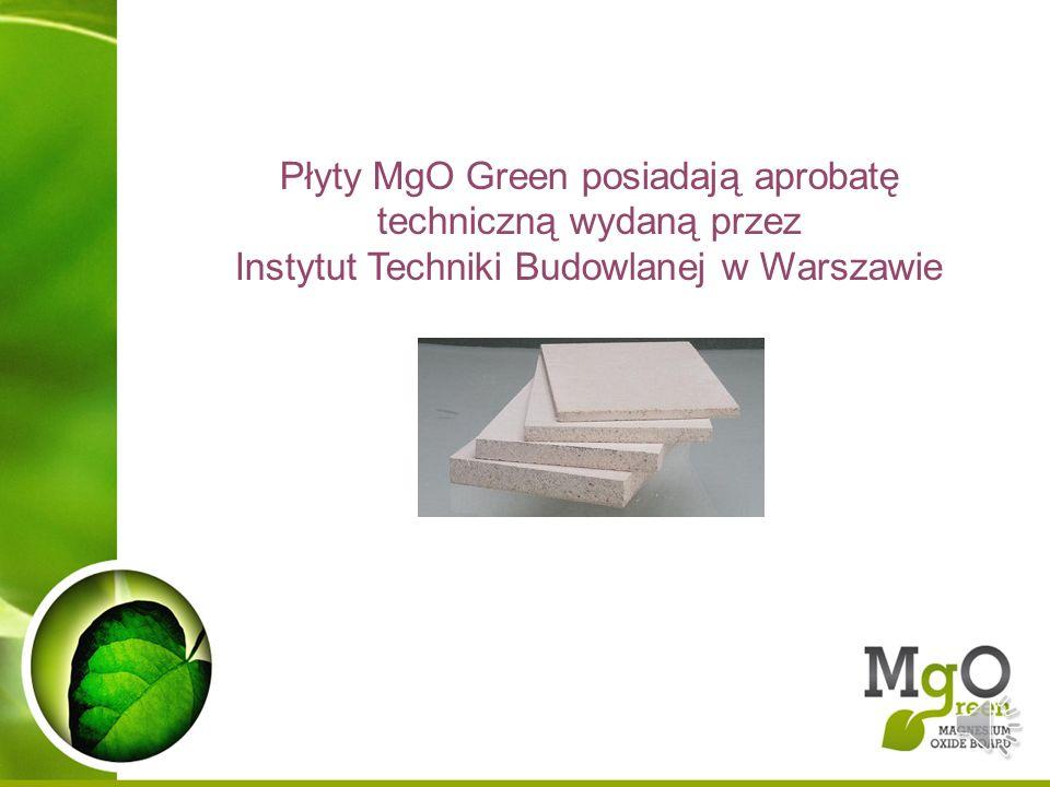 Płyty MgO Green posiadają aprobatę techniczną wydaną przez