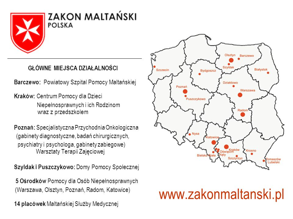 GŁÓWNE MIEJSCA DZIAŁALNOŚCI Barczewo: Powiatowy Szpital Pomocy Maltańskiej Kraków: Centrum Pomocy dla Dzieci