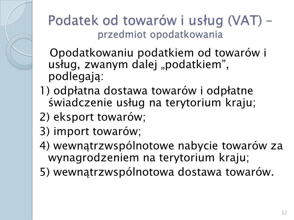 Podatek od towarów i usług (VAT) – przedmiot opodatkowania