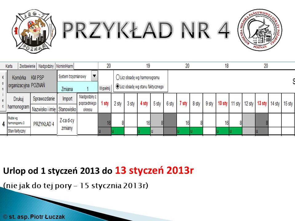 PRZYKŁAD NR 4 Urlop od 1 styczeń 2013 do 13 styczeń 2013r