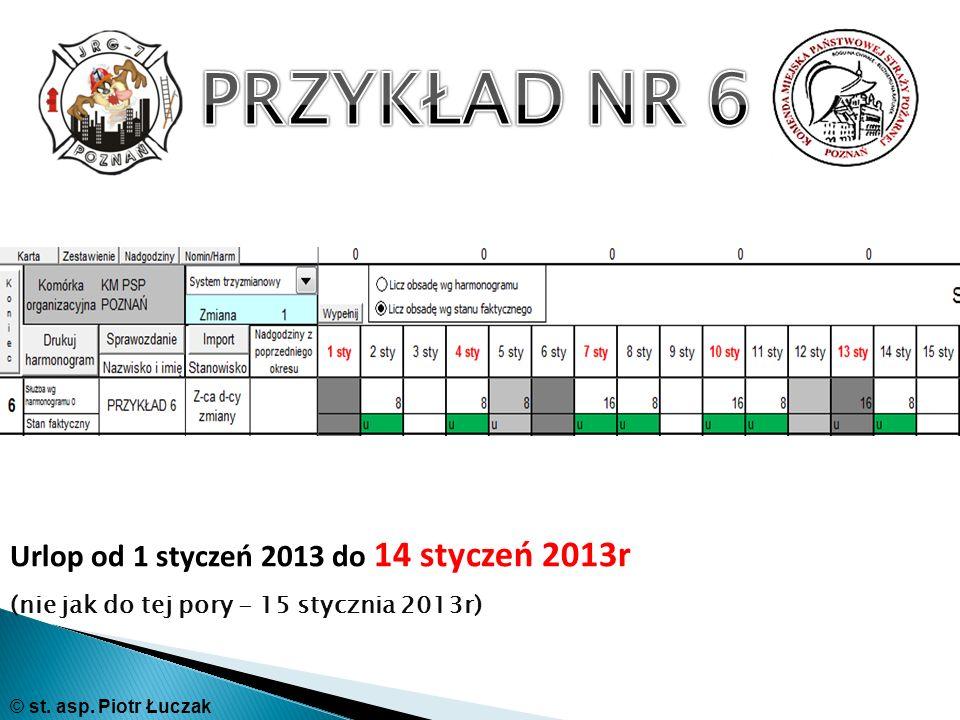 PRZYKŁAD NR 6 Urlop od 1 styczeń 2013 do 14 styczeń 2013r