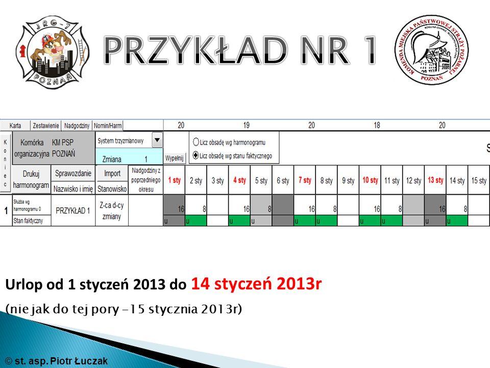 PRZYKŁAD NR 1 Urlop od 1 styczeń 2013 do 14 styczeń 2013r