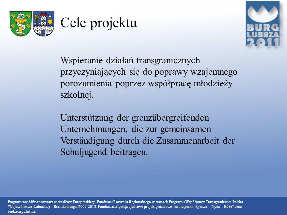 Cele projektu Wspieranie działań transgranicznych przyczyniających się do poprawy wzajemnego porozumienia poprzez współpracę młodzieży szkolnej.