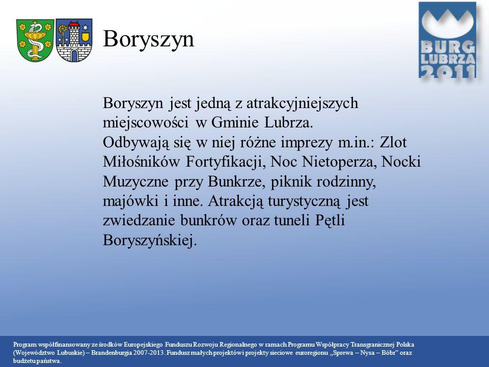 Boryszyn Boryszyn jest jedną z atrakcyjniejszych miejscowości w Gminie Lubrza.