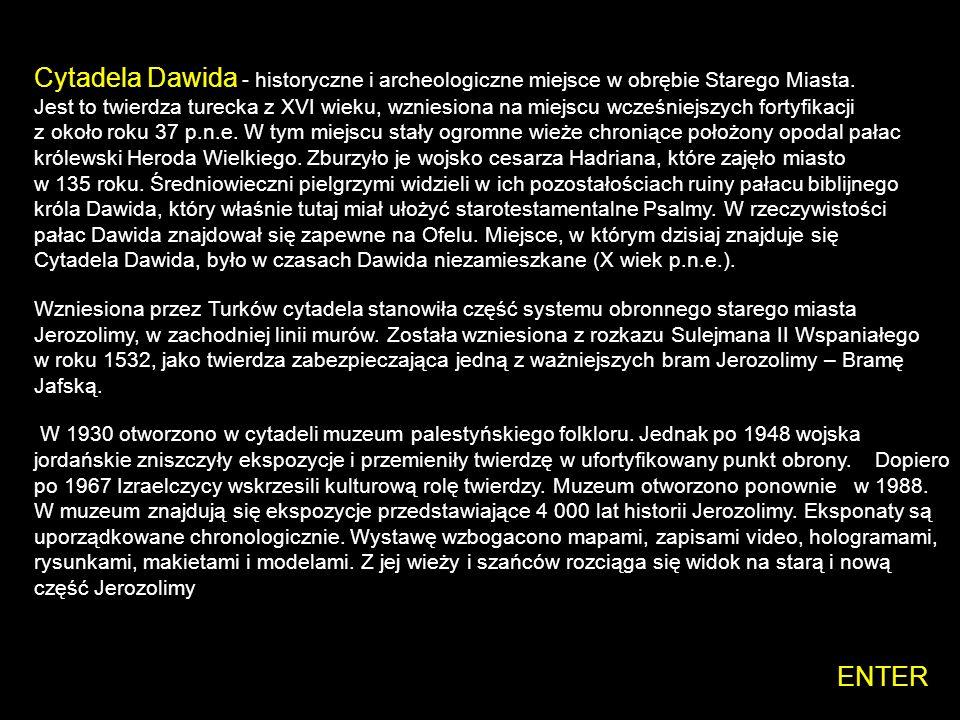 Cytadela Dawida - historyczne i archeologiczne miejsce w obrębie Starego Miasta. Jest to twierdza turecka z XVI wieku, wzniesiona na miejscu wcześniejszych fortyfikacji z około roku 37 p.n.e. W tym miejscu stały ogromne wieże chroniące położony opodal pałac królewski Heroda Wielkiego. Zburzyło je wojsko cesarza Hadriana, które zajęło miasto w 135 roku. Średniowieczni pielgrzymi widzieli w ich pozostałościach ruiny pałacu biblijnego króla Dawida, który właśnie tutaj miał ułożyć starotestamentalne Psalmy. W rzeczywistości pałac Dawida znajdował się zapewne na Ofelu. Miejsce, w którym dzisiaj znajduje się Cytadela Dawida, było w czasach Dawida niezamieszkane (X wiek p.n.e.).