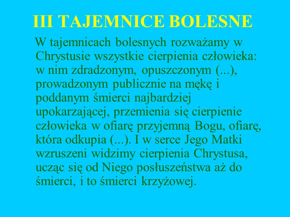 III TAJEMNICE BOLESNE