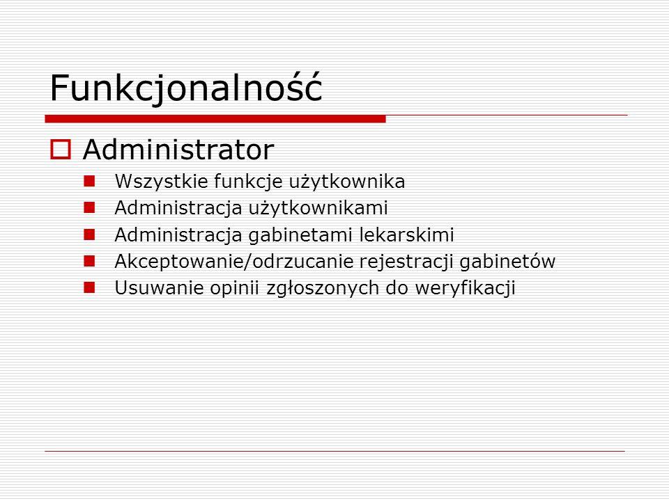 Funkcjonalność Administrator Wszystkie funkcje użytkownika