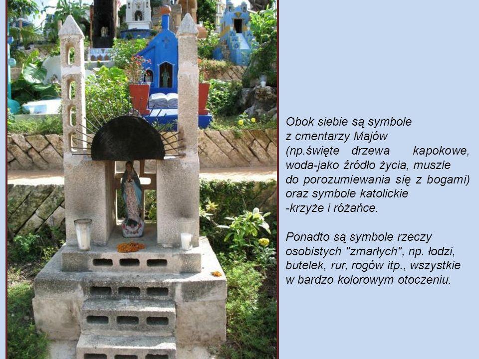 Obok siebie są symbole z cmentarzy Majów. (np.święte drzewa kapokowe, woda-jako źródło życia, muszle.