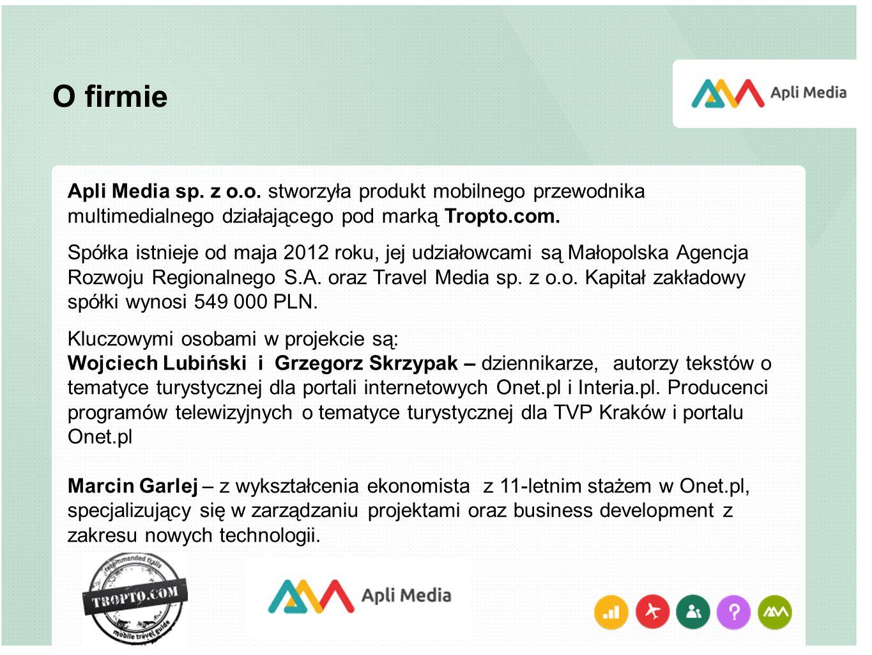 O firmie Apli Media sp. z o.o. stworzyła produkt mobilnego przewodnika multimedialnego działającego pod marką Tropto.com.