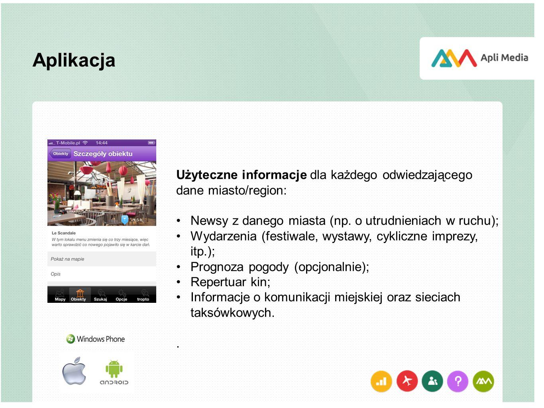 Aplikacja Użyteczne informacje dla każdego odwiedzającego dane miasto/region: Newsy z danego miasta (np. o utrudnieniach w ruchu);