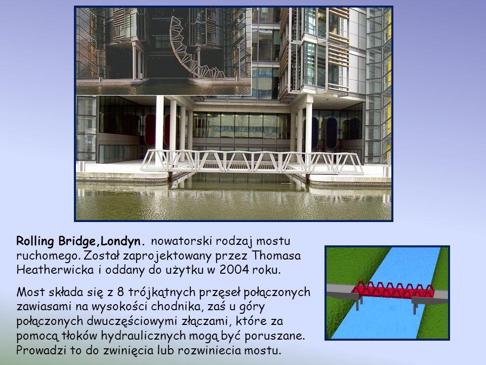Rolling Bridge,Londyn. nowatorski rodzaj mostu ruchomego