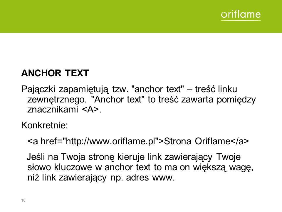 ANCHOR TEXT Pajączki zapamiętują tzw. anchor text – treść linku zewnętrznego. Anchor text to treść zawarta pomiędzy znacznikami <A>.