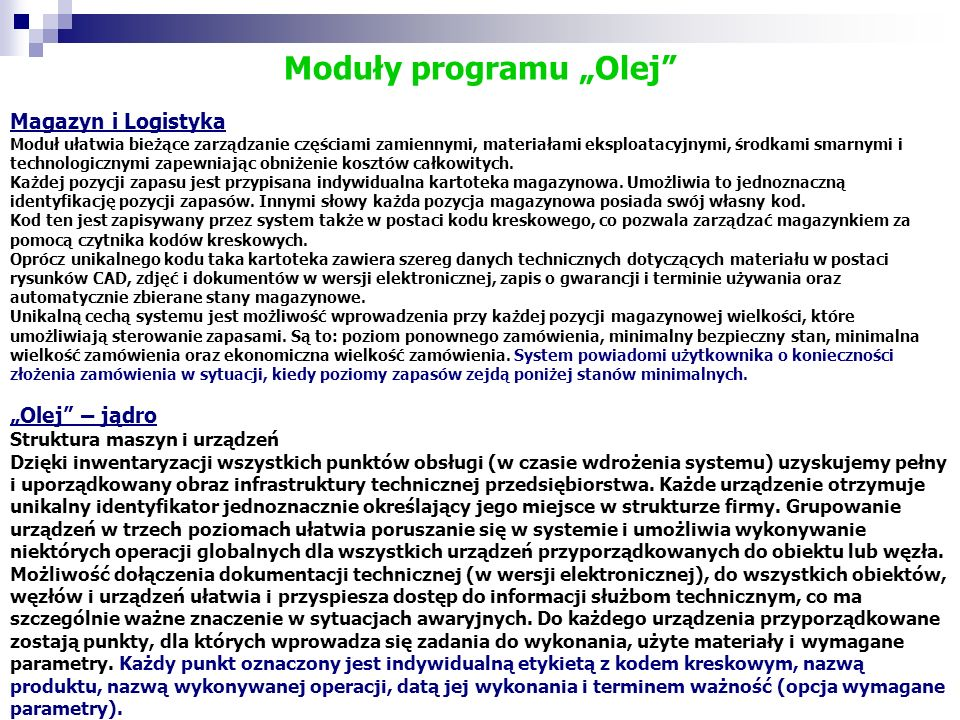"""Moduły programu """"Olej"""