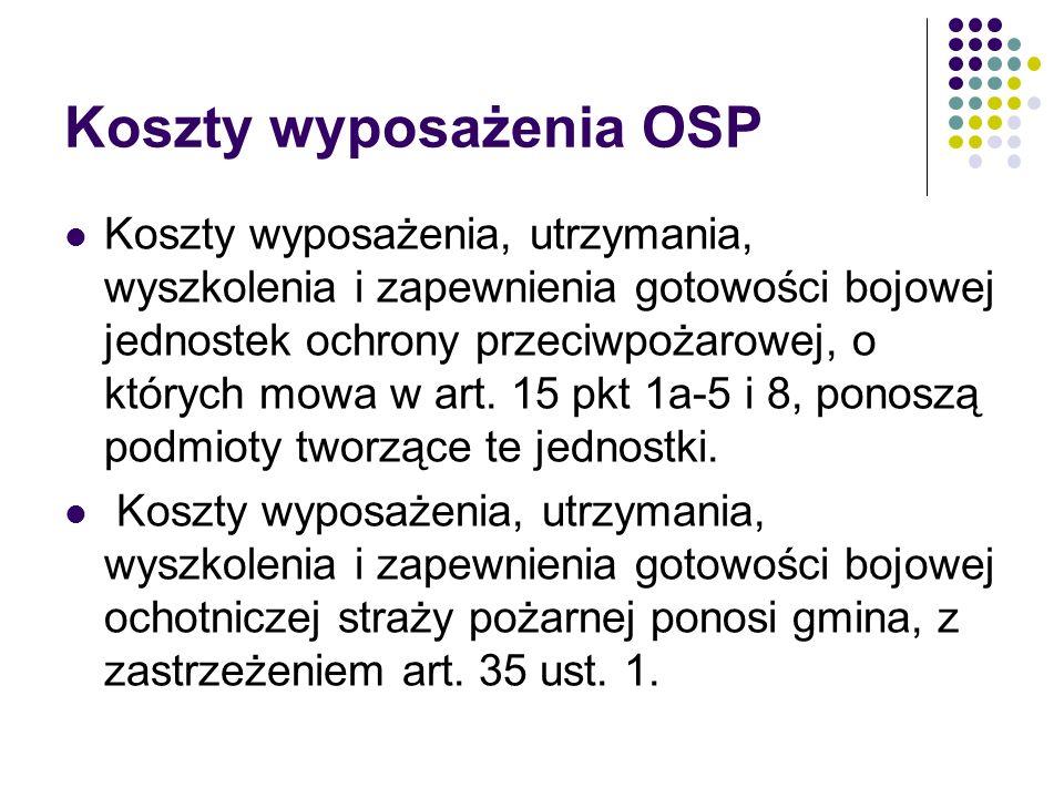 Koszty wyposażenia OSP