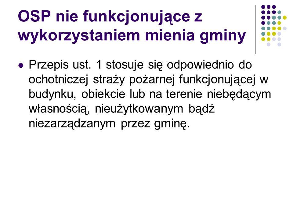 OSP nie funkcjonujące z wykorzystaniem mienia gminy