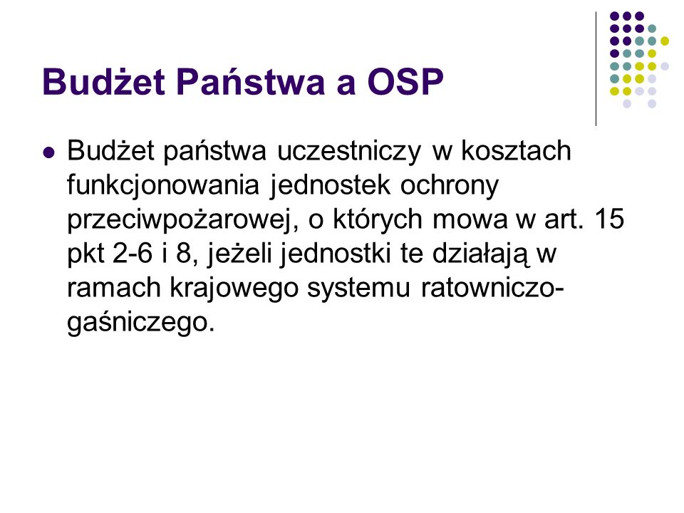 Budżet Państwa a OSP