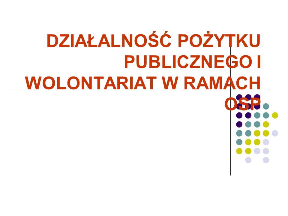DZIAŁALNOŚĆ POŻYTKU PUBLICZNEGO I WOLONTARIAT W RAMACH OSP