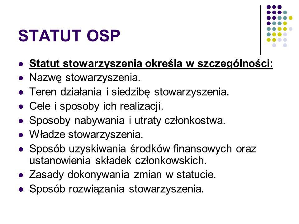 STATUT OSP Statut stowarzyszenia określa w szczególności: