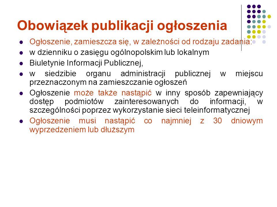 Obowiązek publikacji ogłoszenia