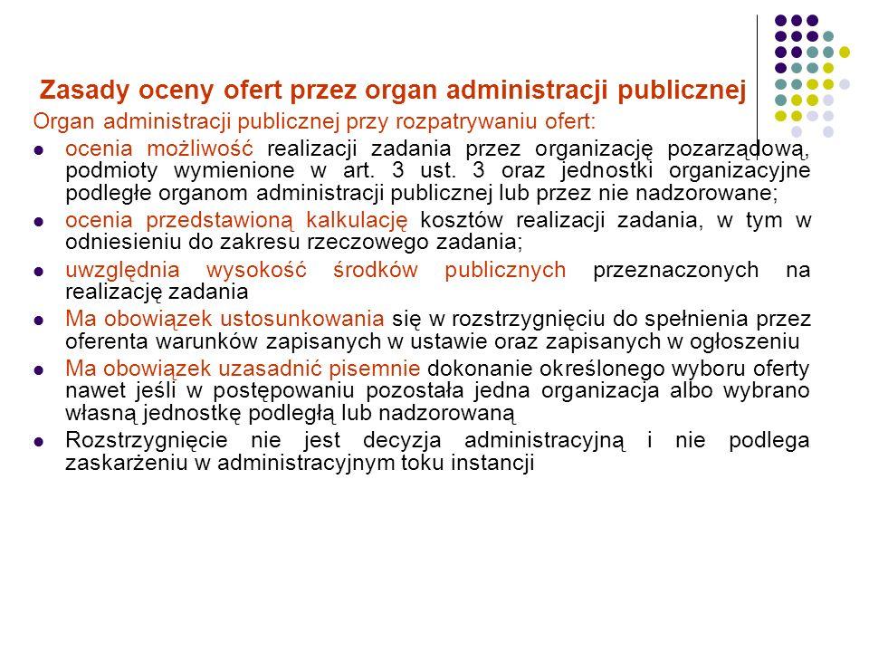 Zasady oceny ofert przez organ administracji publicznej