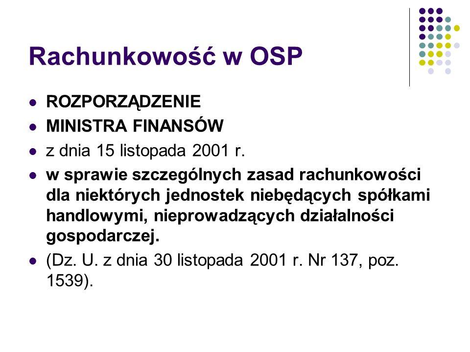 Rachunkowość w OSP ROZPORZĄDZENIE MINISTRA FINANSÓW