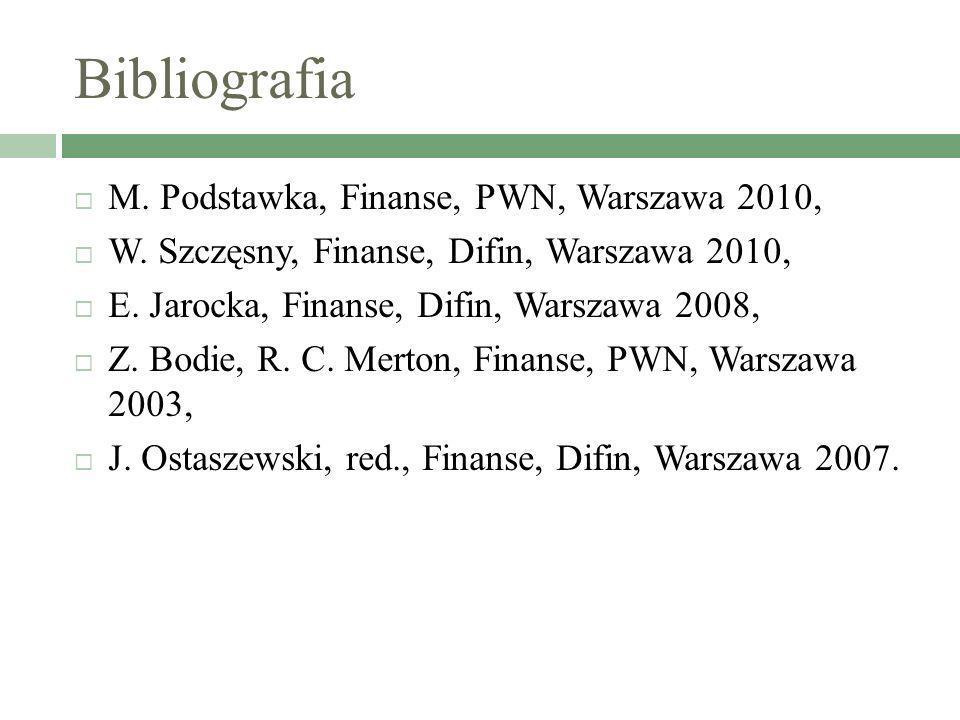 Bibliografia M. Podstawka, Finanse, PWN, Warszawa 2010,