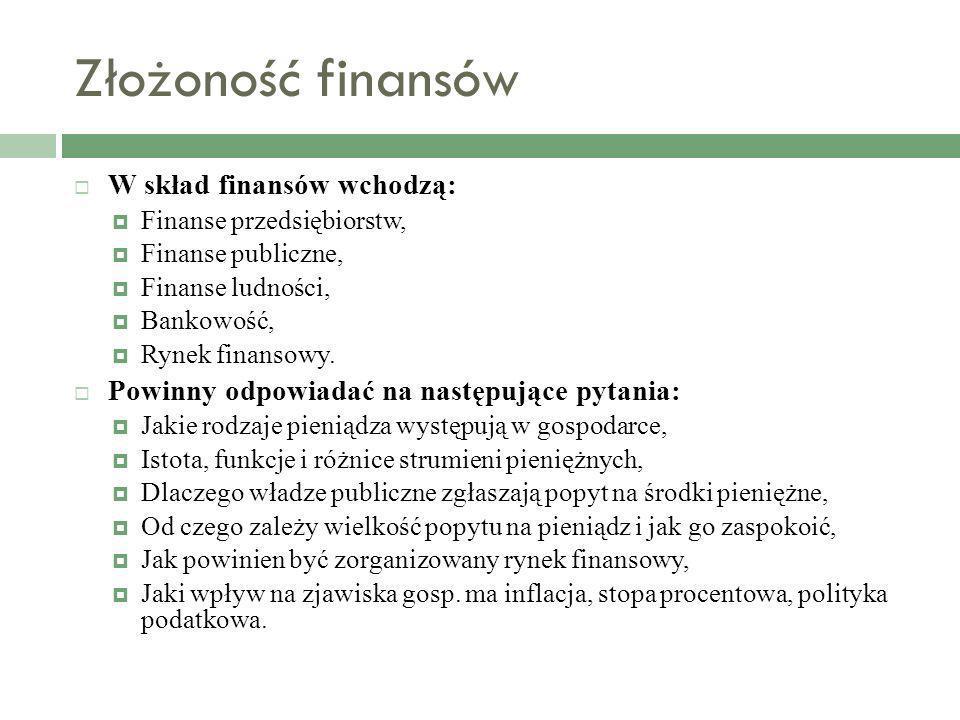 Złożoność finansów W skład finansów wchodzą: