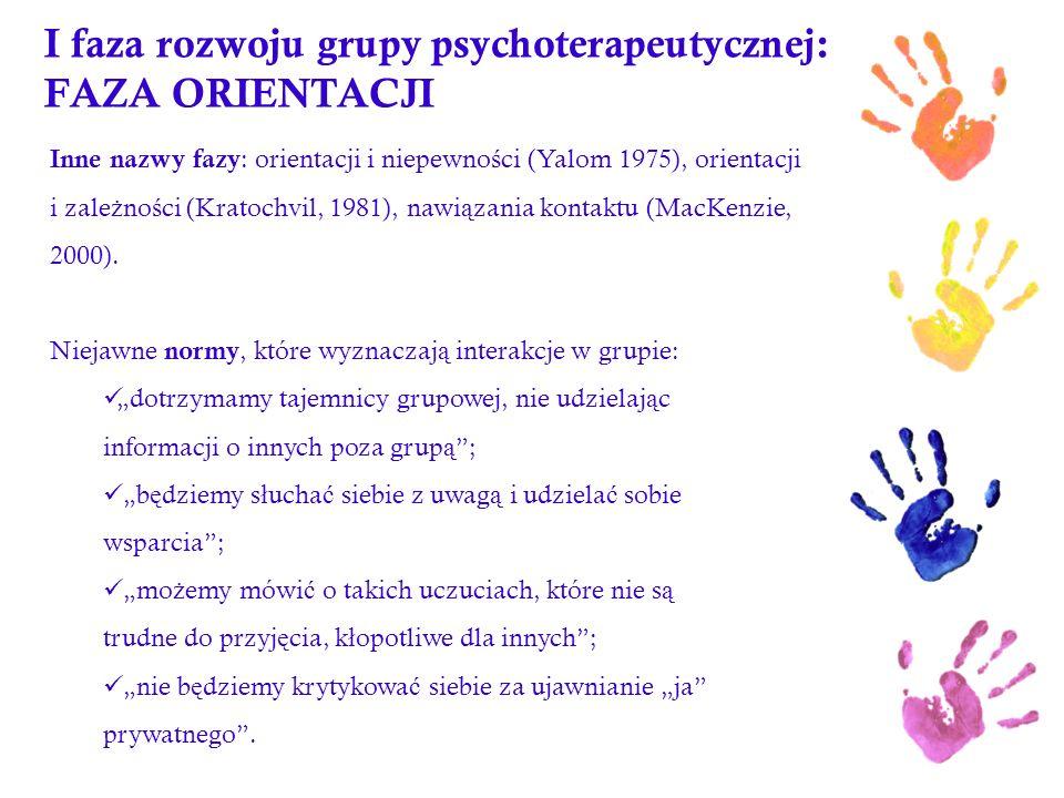 I faza rozwoju grupy psychoterapeutycznej: FAZA ORIENTACJI