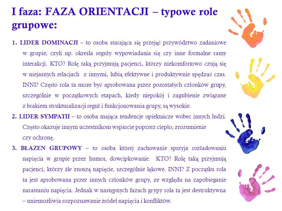 I faza: FAZA ORIENTACJI – typowe role grupowe: