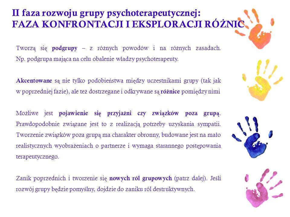 II faza rozwoju grupy psychoterapeutycznej: FAZA KONFRONTACJI I EKSPLORACJI RÓŻNIC