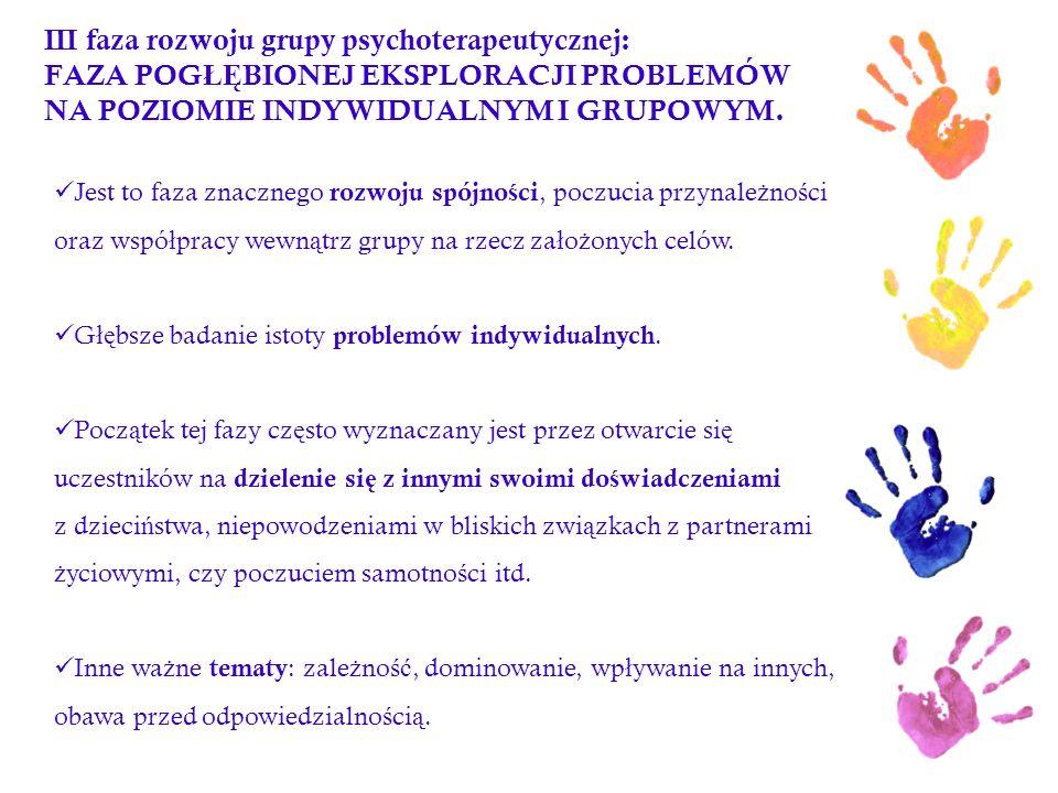 III faza rozwoju grupy psychoterapeutycznej: FAZA POGŁĘBIONEJ EKSPLORACJI PROBLEMÓW NA POZIOMIE INDYWIDUALNYM I GRUPOWYM.