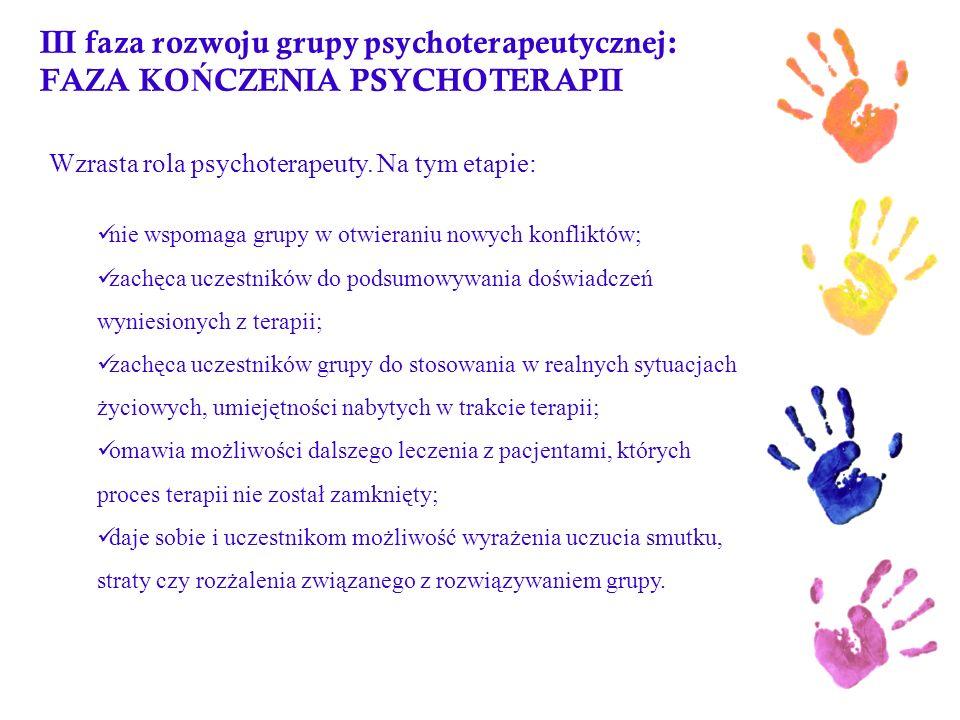 III faza rozwoju grupy psychoterapeutycznej: FAZA KOŃCZENIA PSYCHOTERAPII