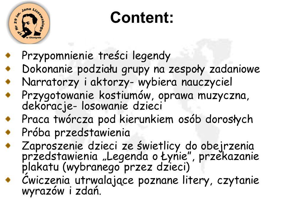 Content: Przypomnienie treści legendy