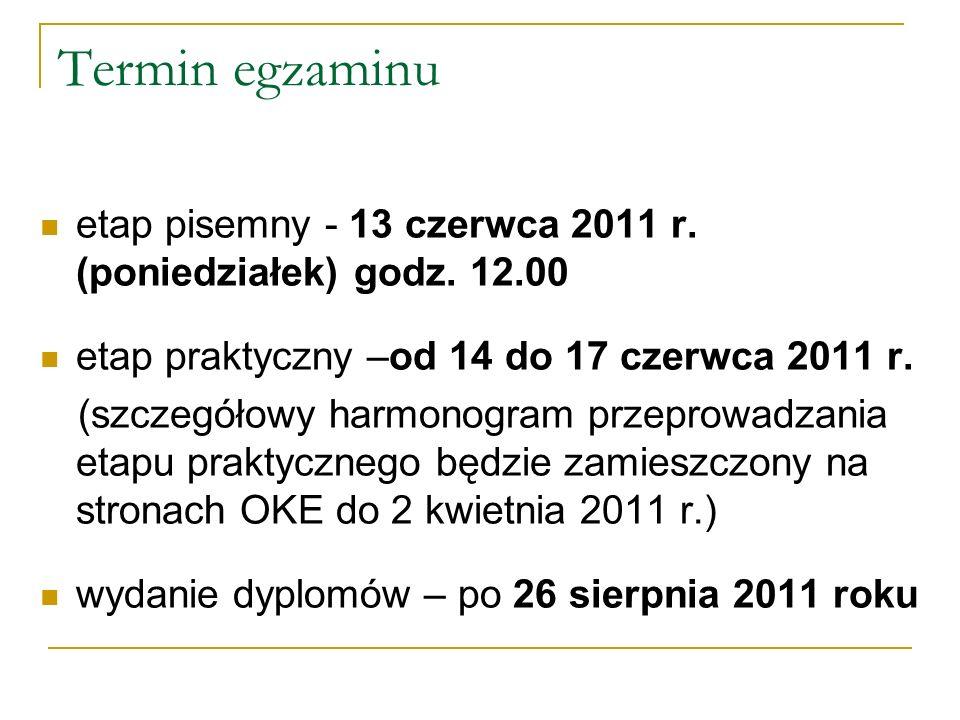 Termin egzaminuetap pisemny - 13 czerwca 2011 r. (poniedziałek) godz. 12.00. etap praktyczny –od 14 do 17 czerwca 2011 r.