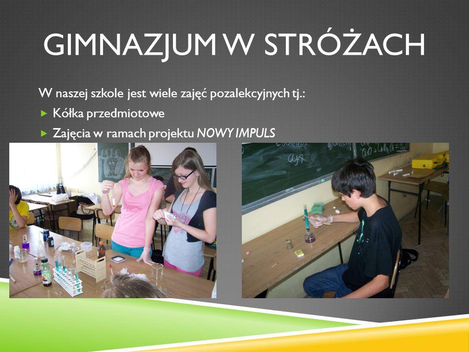 Gimnazjum w stróżach W naszej szkole jest wiele zajęć pozalekcyjnych tj.: Kółka przedmiotowe.