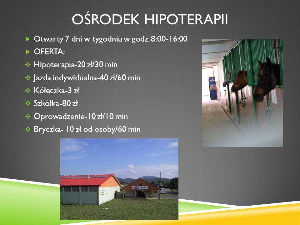 Ośrodek hipoterapii Otwarty 7 dni w tygodniu w godz. 8:00-16:00