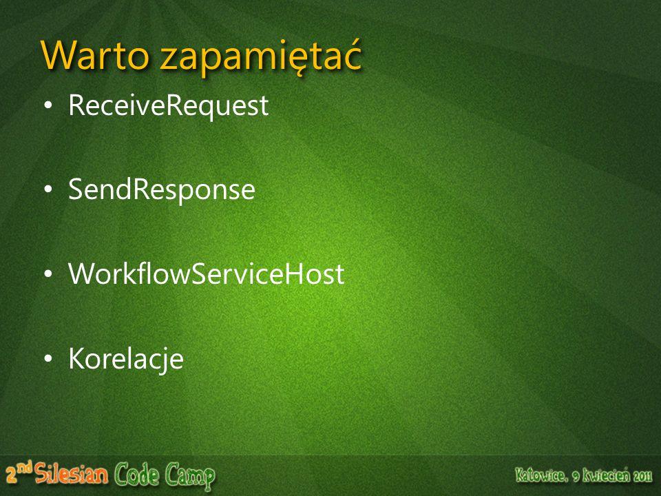 Warto zapamiętać ReceiveRequest SendResponse WorkflowServiceHost