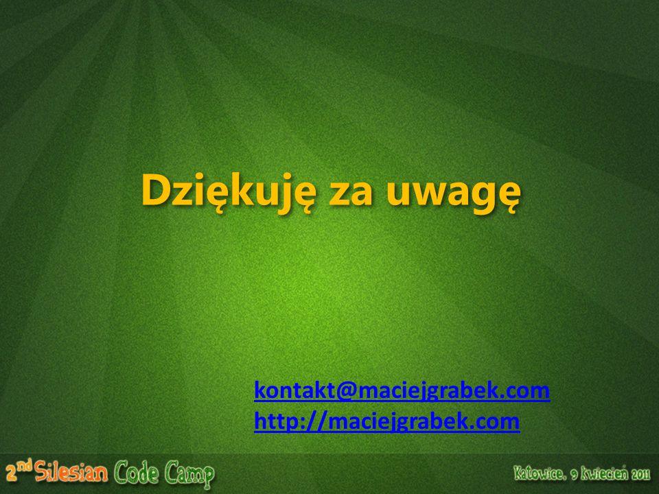 Dziękuję za uwagę kontakt@maciejgrabek.com http://maciejgrabek.com