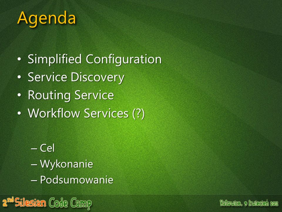 Agenda Simplified Configuration Service Discovery Routing Service