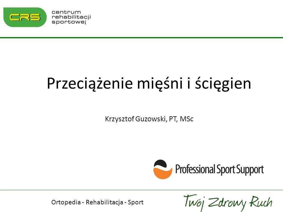 Przeciążenie mięśni i ścięgien Krzysztof Guzowski, PT, MSc