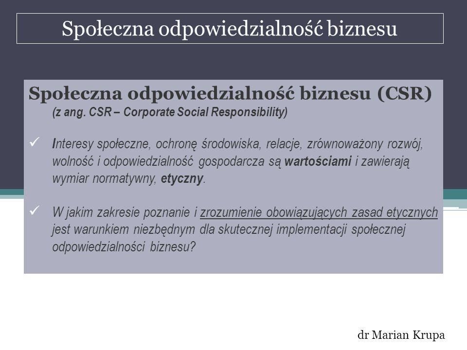 Społeczna odpowiedzialność biznesu