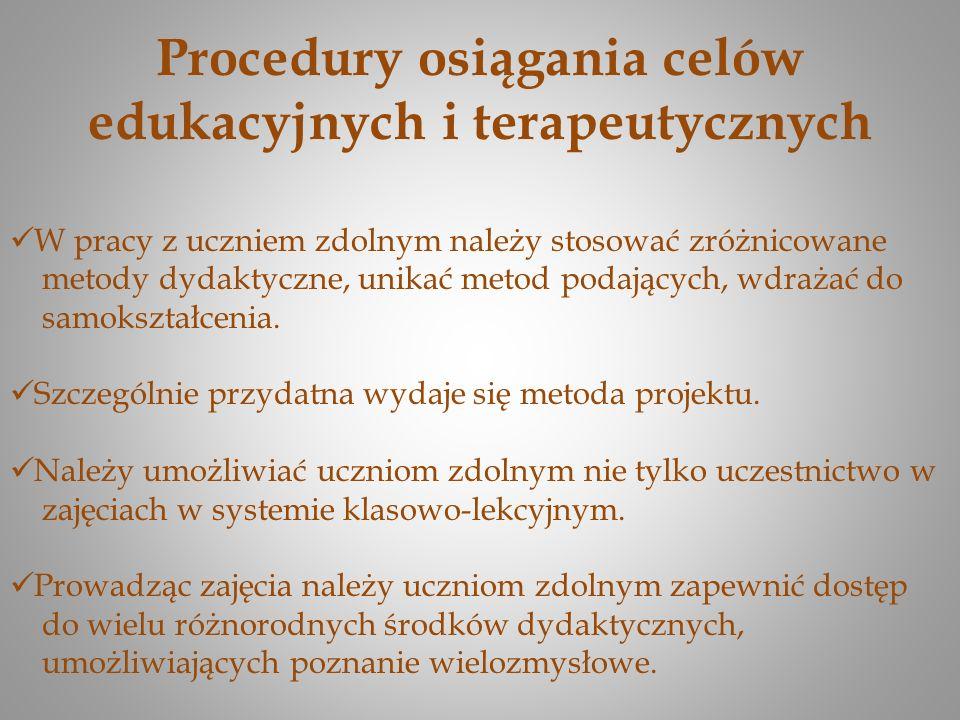 Procedury osiągania celów edukacyjnych i terapeutycznych