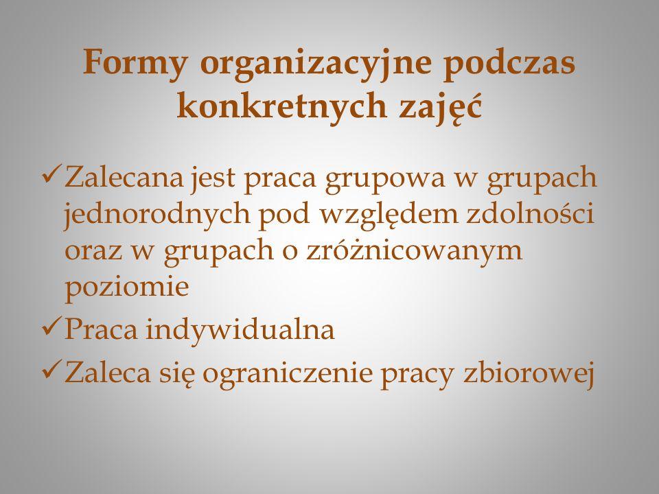 Formy organizacyjne podczas konkretnych zajęć