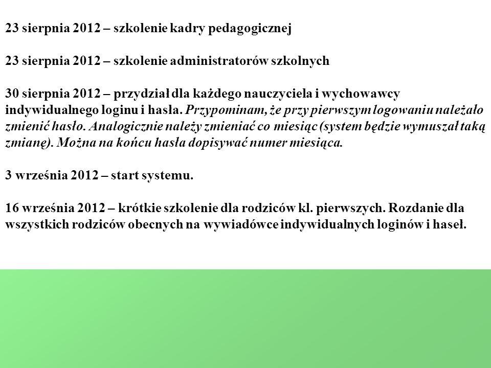 23 sierpnia 2012 – szkolenie kadry pedagogicznej
