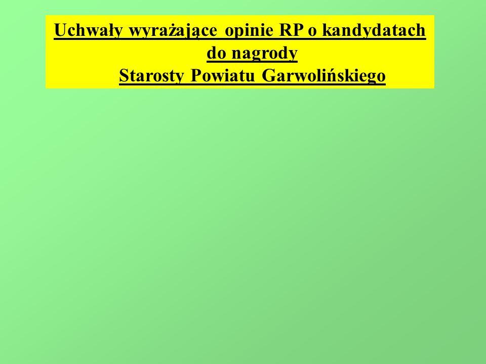 Uchwały wyrażające opinie RP o kandydatach do nagrody Starosty Powiatu Garwolińskiego