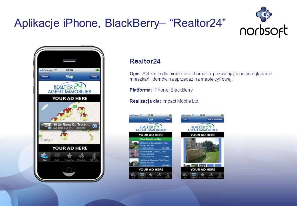 Aplikacje iPhone, BlackBerry– Realtor24