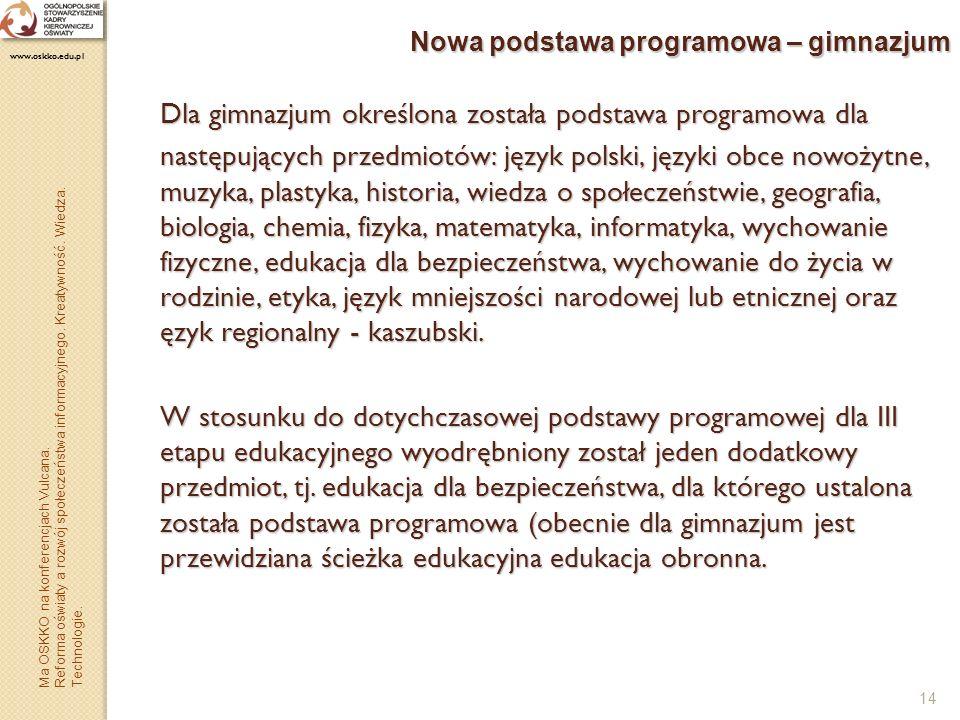 Nowa podstawa programowa – gimnazjum